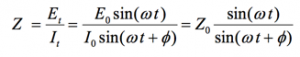 allows us to calculate the impedance of the system as: