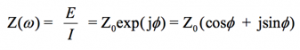 The impedance is then represented as a complex number