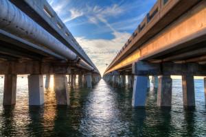 Vintage bridge  corrosion on 7 mile bridge Florida Keys