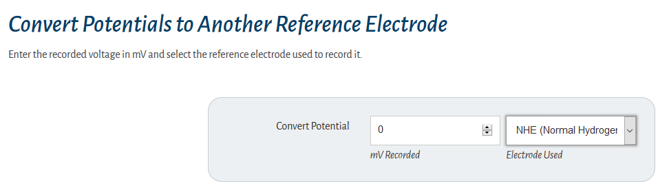 New Online Reference Electrode Conversion Calculator